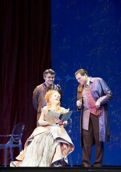 In Capriccio, the Countess must decide between two suitors: the poet, who represents words, and the composer, who represents music.