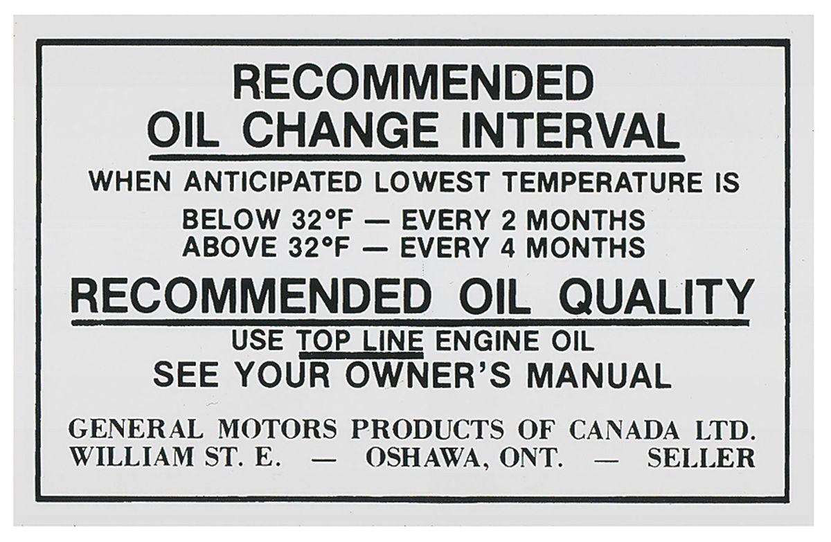 71 Cutlass 442 Oil Change Decal Canada Opgi