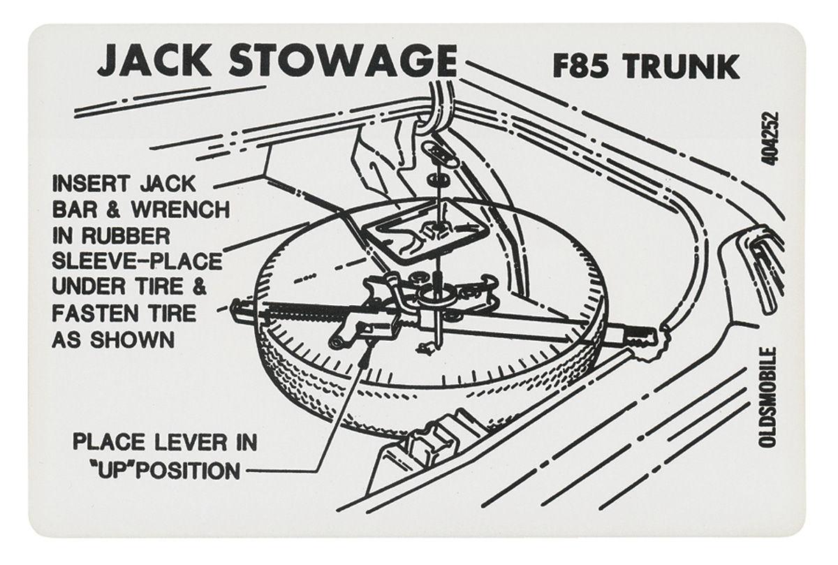 Decal 69 72 Cutlass Trunk Tire Stowage Except Super