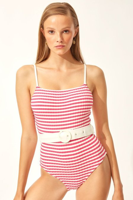 solid and striped the nina belt fuschia stripe front