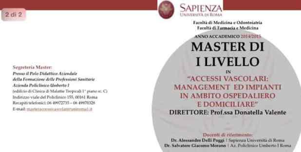 Master di Primo Livello in Accessi vascolari: Management ed impianti in ambito ospedaliero e domiciliare