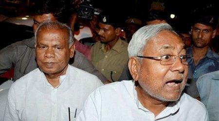Nitish Kumar with Ram Jitan Manjhi