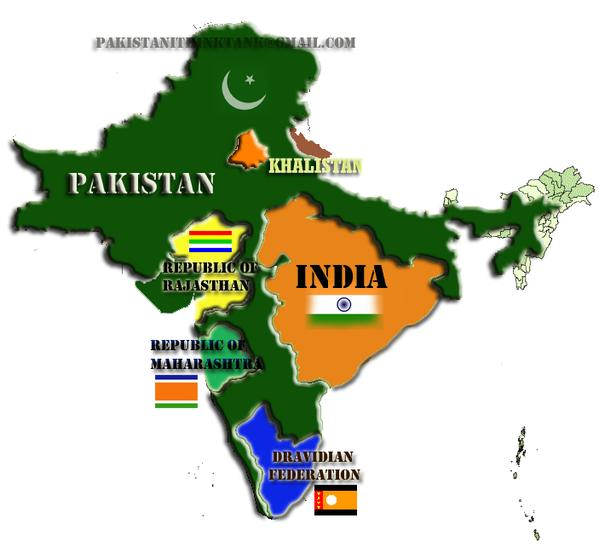 crazy Indian map by Pakistan.