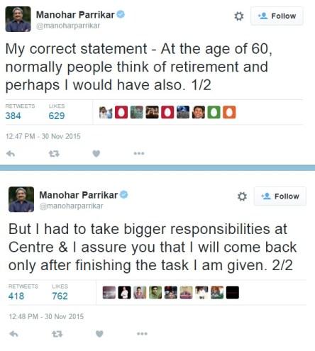 parrikar retirement