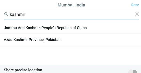 Kashmir as per Twitter