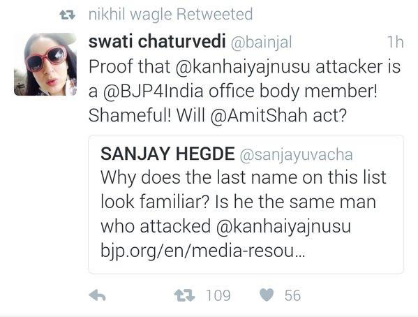 Tweet spreading a false claim