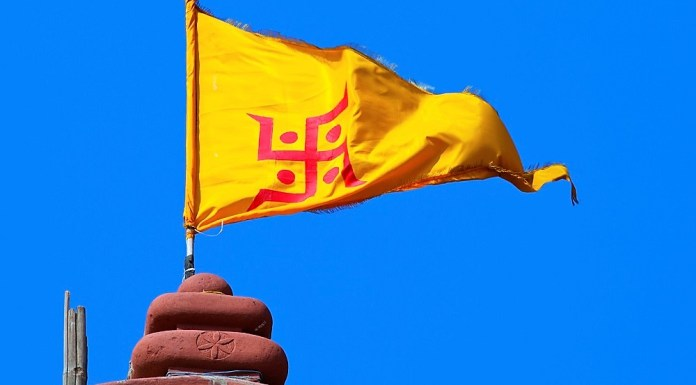 saffron flag on a temple