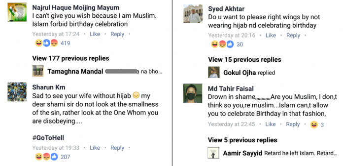 Islamist comments on Facebook page of cricketer Mohammad Shami