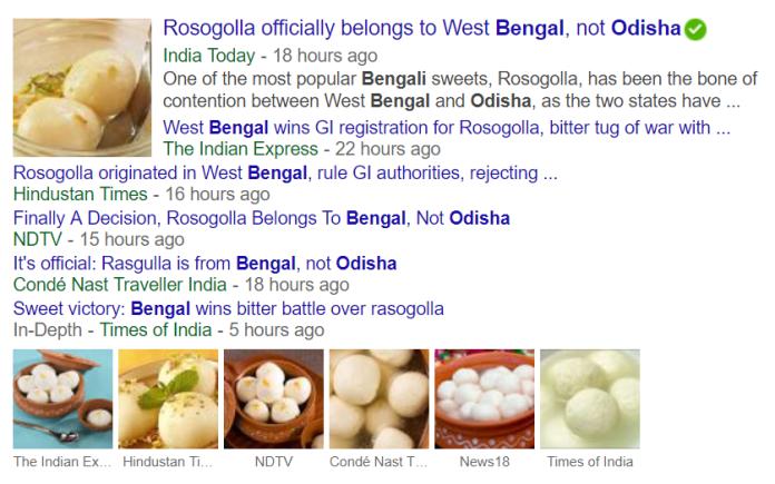 Google news snapshot over Rasagulla news