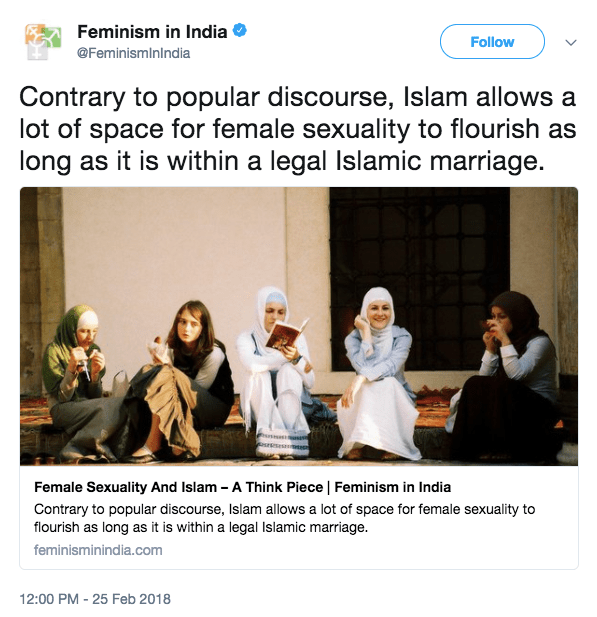 Islamic agenda being pushed by 'Feminism in India' website