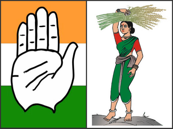 congress and JDS leaders are seen distributing freebies to voters