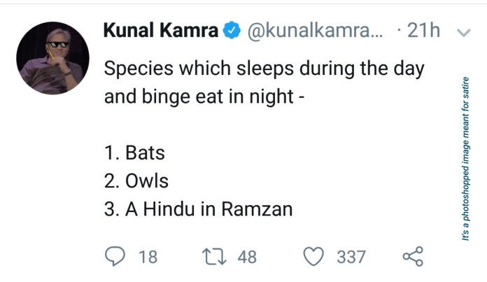 Kunal Kamra's tweet on Ramzan and Muslims (satire)