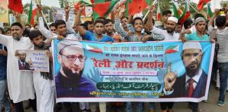 Radical Muslims protest in Bihar in support of Zakir Naik and Owaisi