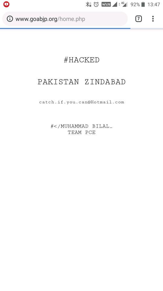 Goa BJP's website hacked and 'Pakistan Zindabad' message