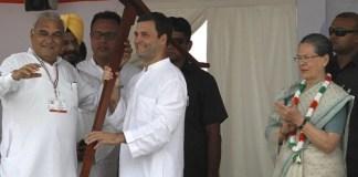 Bhupinder Hooda, Rahul Gandhi and Sonia Gandhi