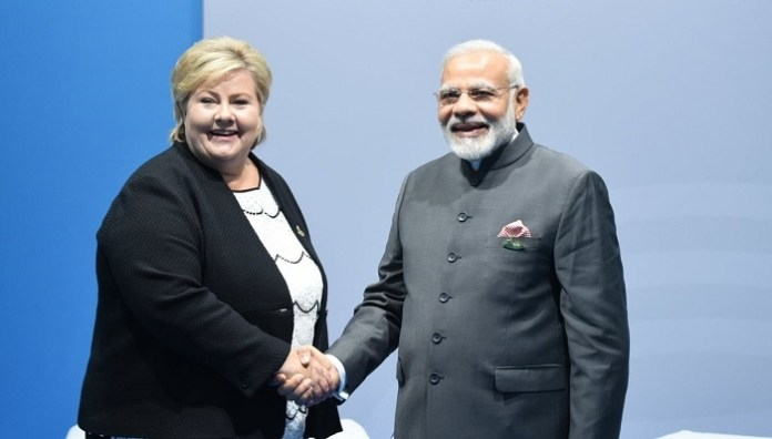 Norwegian PM Erna Solberg and Indian PM Narendra Modi at G20 Summit in Germany