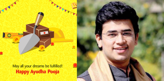 Tejaswi Surya attacked for Ayudha Puja