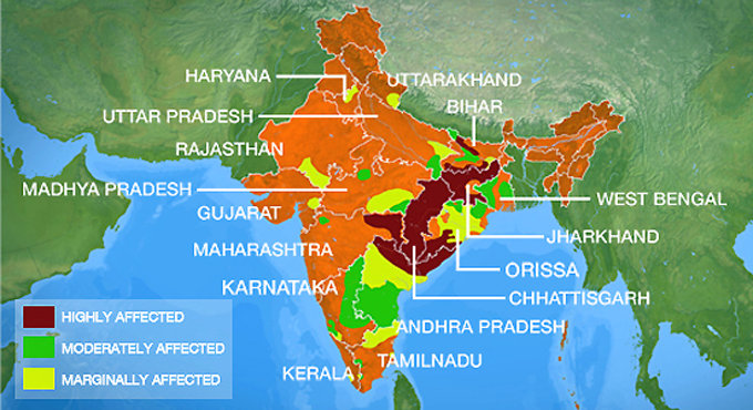 maoism map india, maoists in india, maoism affected areas in india