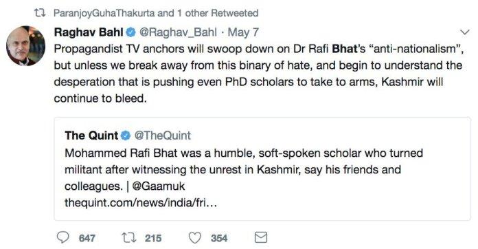 Raghav Bahl humanises terrorist