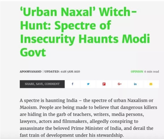 Pro-Naxal article in The Quint