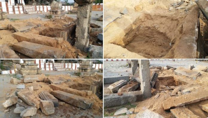 15th century Brindavan (tomb) of Sri Vyasaraja Tirtha vandalised in Hampi