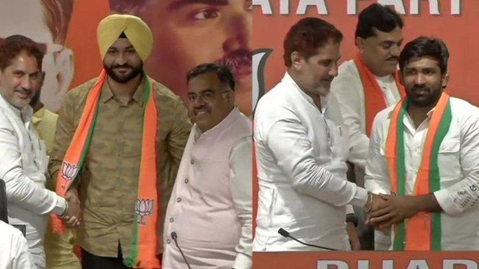 Wrestler Yogeshwar Dutt and former Hockey captain Sandeep Singh joined BJP today