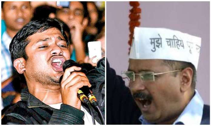 Kanhaiya Kumar (left) Arvind Kejriwal (right)