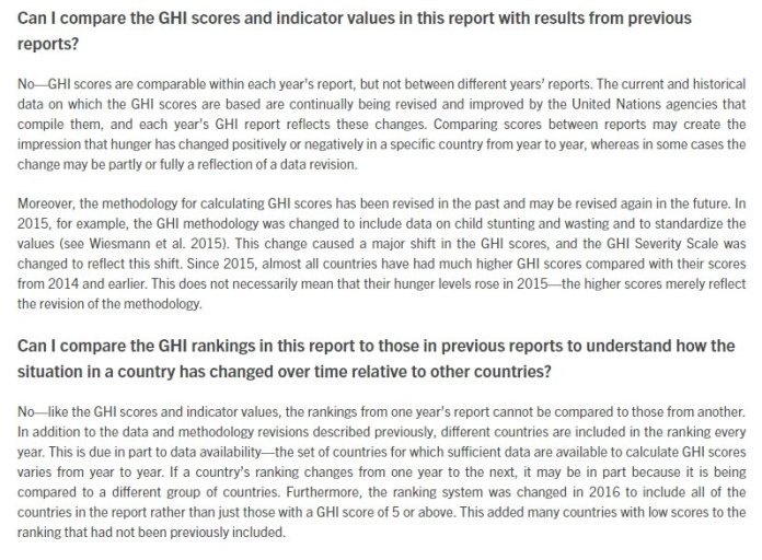 GHI clarification on comparing data across years