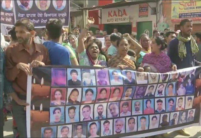 Family members of Amritsar train tragedy victims held protests today