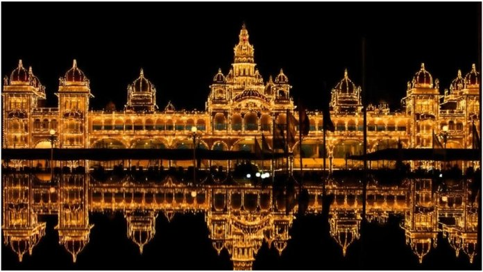 The lit up Mysuru Palace during Dasara celebrations