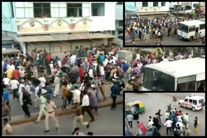 Watch: Muslim mob goes on a rampage during anti-CAA riots in Ahmedabad, pelt stones, almost lynch policeman