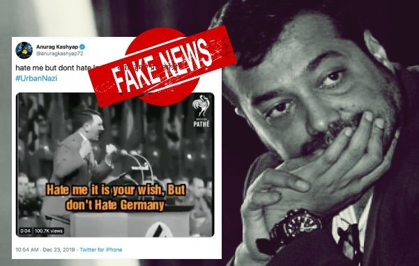 Anurag Kashyap plugs a mis-translation of Hitler's speech to demean PM Modi's