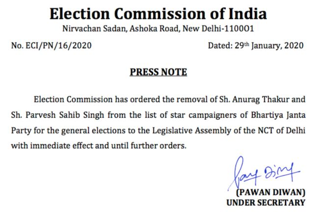 EC orders BJP to remove