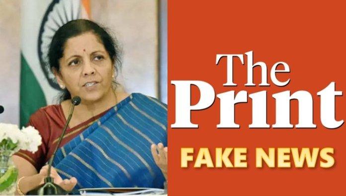 The Print Nirmala Sitharaman fake news