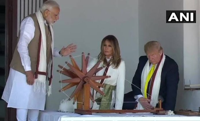 US President Donald Trump and First Lady Melania Trump spinning the Charkha at Sabarmati Ashram