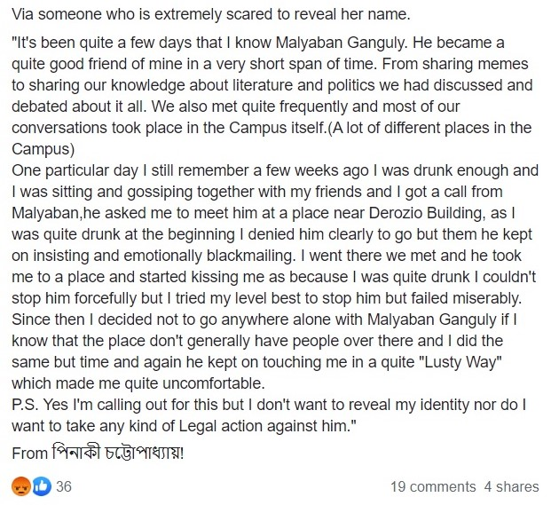 Allegations of sexual harassment against Presidency University student
