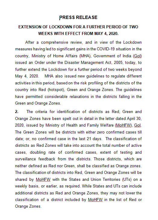 Press note issued by MHA announcing the lockdown being extended in India