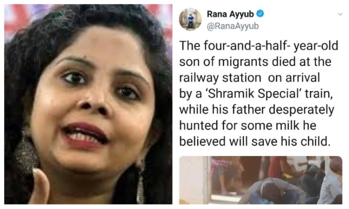 Rana Ayyub again spreads fake news over a child's death at Muzaffarpur station, gets fact-checked by the railways