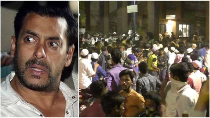 Thousands of people gather in Bhiwandi, Mumbai after rumours spreader that Salman Khan was going to distribute money and food ahead of Ramzan Eid