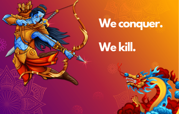 The Illustration of India's Lord Rama killing Chinese dragon floats in Hong Kong and Taiwan as a nark of solidarity against Chinese expansionism