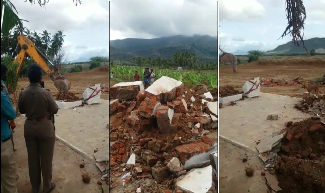 Hindu temple demolished by Police on Muslim complaint