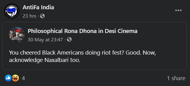 Antifa India glorifies naxalism