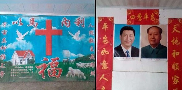 China takes down Christian religious symbols and images of Jesus, orders Christians to put up posters of Jinping and Mao