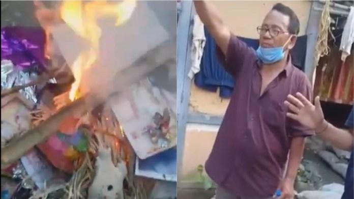 Pastor burnt Goddess Idols and Symbols
