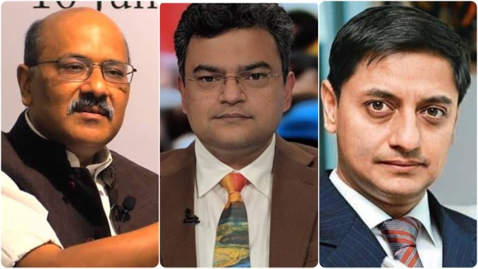 Shekhar Gupta misquotes tweets posted by Anand Ranganathan and Sanjeev Sanyal to allege that their posts prompted Bloomsbury to cancel the book on Delhi Riots