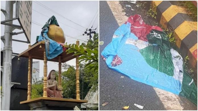 An Islamic flag with Arabic wordings was found draped over the Adi Shankaracharya statue in Shringeri
