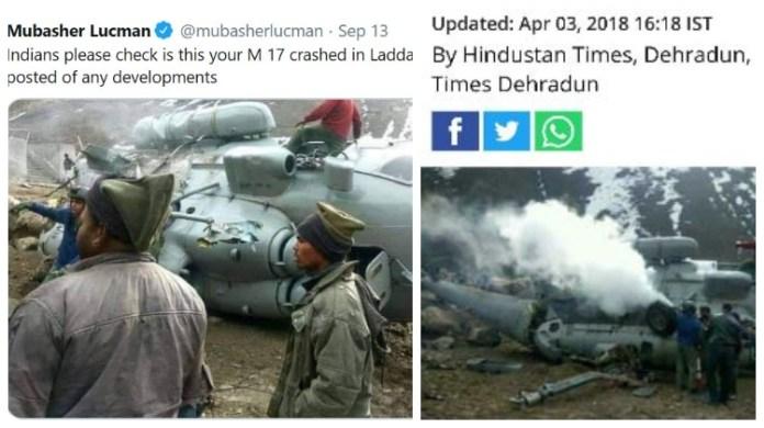 Pakistanis use 2-year-old image to claim Indian chopper has crashed in Ladakh