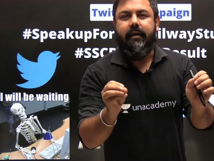 Varun Awasthi, an UnAcademy educator found provoking students to pick up guns