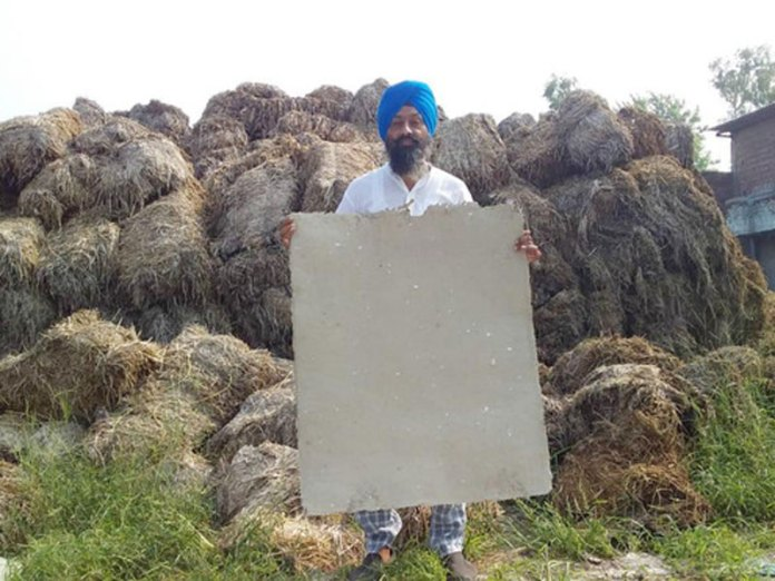 Gurtej Singh, a farmer from Punjab, has been making cardboards from stubble