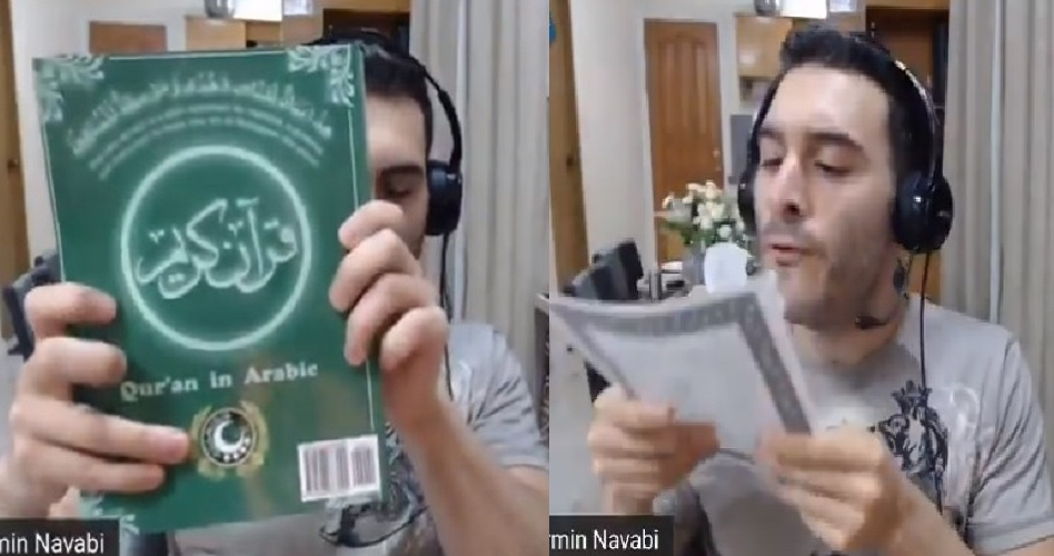 Atheist Republic founder Armin Navabi tears up the Quran and spits on it,  tweets video with #DesecrateTheQuran